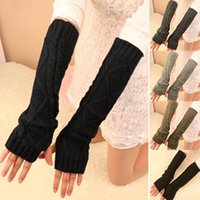 arm warmer gloves - 2015 new Fashion Women Winter Warm Knitted Fingerless Long Gloves Mitten Hand Arm Warmer Glove Colors
