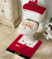 Wholesale 2016 Santa Claus Toilet Seat Cover and Rug Bathroom Set Contour Rug Christmas Decorations for Home Papai Noel Navidad Decoracion