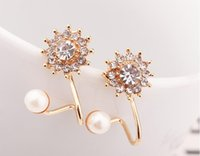 Wholesale Jewelry Alloy Snowflake Sweet Pearl Stud Earrings Ear Clip Ear Cuff B001 Valentine s Day Gift cheap