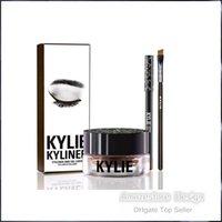 Wholesale 3 in Kylie Eyeliner and Gel Liner Eyeshadow Brush Birthday Edition Kylie Jenner Kit DHL Black Dark Bronze Brown