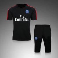 Wholesale New Arrived Hot Paris Black White Tracksuits Short sleeve shirt with pants Men s PSG Short survetements home away