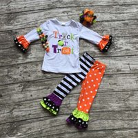 Wholesale 2016 girls Halloween clothing girls trick or treat clothes girls Halloween pant sets with necklace and bows