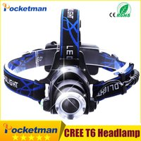 achat en gros de la lumière de la tête t6-LED phare Headlamp CREE T6 conduit projecteur Lumière 18650 Head lumières tête lampe 2000lm XML-T6 zoomable lampe frontale BIKE lumière