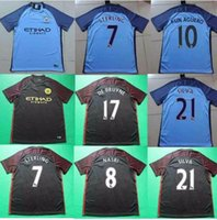 Wholesale Best Quality City Home away black Soccer Shirt camisetas maillots de foot Send in days