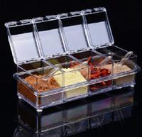 achat en gros de pots à épices en plastique-Matériel de Cuisine en plastique transparent pivotant Assaisonnement Box Spice bouteilles Jar de stockage Jars Herb Spice Outils Sauce Pot Set WA0303