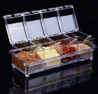 al por mayor frascos de especias de plástico-Utensilios de cocina de plástico transparente giratoria condimento caja de especias Botellas tarro tarros de almacenamiento de la hierba de la especia Herramientas Sauce Pot Set WA0303