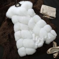 Wholesale High quality Fur Vest coat Luxury Faux Fox Warm Women Coat Vests Winter Fashion furs Women s Coats Jacket Gilet Veste XL