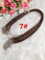 Wholesale Cheap Black Wax Leather Snake Necklace Beading Cord String Rope Wire cm Extender Chain with Lobster Clasp DIY jewelry component pc
