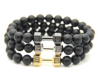 agate stone ring - 2016 Men Gift New Arrival Alloy Metal Black Matte Agate Stone Beads Fitness Fashion Live Fit Life Dumbbell Bracelets