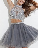 Wholesale 2016 Short Two Pieces Homecoming Dresses High Neck Beads Crystals Rhinestone Backless Sexy Graduation Cocktail Short Prom Dresses