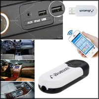 Wholesale Bluetooth V4 USB Music Receiver Double Output Wireless Dongle Mini Portable mm Car Kit Audio Adapter for Cell Phone iPhone Tablet PC