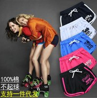 Wholesale 2016 summer new women s casual letter embroidery elastic waist shorts and retail woman cotton sports shorts