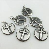 antique necklace religious - 19911 Antique Pewter Stainless Steel Round Religious Faith Cross Pendant
