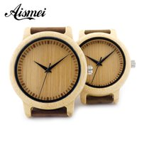 bamboo clock - 2016 Unique Vogue Men Womens Bamboo Wooden Watch Quartz Outdoor Watches Clock With Leather Strap Montre Femme