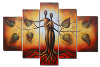 Wholesale Hand Painted Abstract Art Painting Eden Love Modern Oil Paintings Genesis Tree Panels Wood Inside Framed Large Wall Art Decor