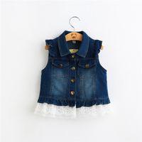 Wholesale 2016 Fashion Kids Girls Blue Denim Lace Waistcoats Baby girl Turn down Collar Vests Babies Autumn clothes children s outwear SDB1143