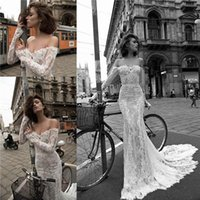 Wholesale liz martinez Summer Lace Mermaid Wedding Dresses Sexy Off Shoulder Illusion Long Sleeves Appliqued Beach Sheer Bridal Gowns BA2447