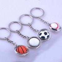 baseball gift bags - 360 rotating zinc alloy rubber golf basketball football baseball Key ring ball key chain gift D metal bag pendants Olympic games souvenir