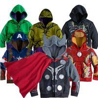 Wholesale Lovely Cartoon Kids Jackets Halloween Hoodies Captain Avengers Iron Man Superhero Cosplay Childrens Clothes for Boys O004