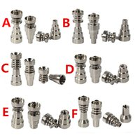 Wholesale High Quality GR2 Domeless Ti Nails mm Female Male Joint In In Titanium Nail Flux Nail with Holes DHL Free