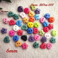 Cheap Mini buttons 144pcs 6mm mixed color mixed round heart star shapes resin buttons scrapbooking craft accessories little buttons
