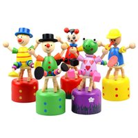 Wholesale Wooden Clown Puppet Colorful Finger Toy Lovely Educational Kids Toy Clown Barrel Random Style