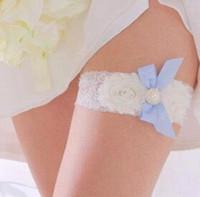 acheter jarretire bleu taille plus bleu blanc dentelle jarretire de mariage sets accessoires cheap bridal - Achat Jarretire Mariage