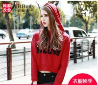 Wholesale 2016 AUTUMN NEW WOMEN S JACKET HEAD FEMAL STUDENTS RED SHORT PLAIN HOODIE LADIES HOODED TOP SWEAT SHIRT