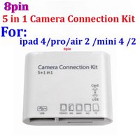 Wholesale 1000pcs ios ios9 Pin USB in Camera Connection Kit SD TF Card Reader Adapter For iPad air pro IPAD MINI