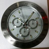 Wholesale daytona good quality stainless steel wall clock sweep movment popupar watch clock inch metal quartz wall clock