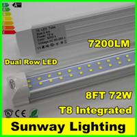 Wholesale Double Row ft LED Lights T8 integrated led tube w SMD LED Light Bulbs feet m led lighting fluorescent lamp