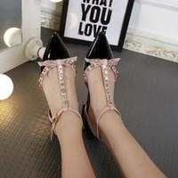 ballet black patent - Top designer hotsale true leather low heel women lady dress party sheepskin diamond footwear shoes FA1545