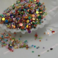 Wholesale Nail Art Mixed size colors Round Rhinestones packs Nail Glitter Tip Gems Heart Clear Box DIY apprpx grams pack