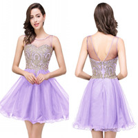 Wholesale Designed Cheap Purple Tulle Beaded Homecoming Dresses Lace Applique Crystals Mini Short Party Cocktail Prom Dresses Graduation Gowns CPS362