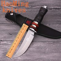 Wholesale Hot tactical hunting knife cr17mov fixed blade color wood handle camping diving survival knives defense outdoor rescue tools free delivery