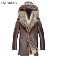 australian leather hats - Fall high quality genuine leather jacket australian sheep skin one piece male long raccoon fur coat with a leather gloves