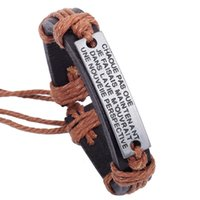 Wholesale New Fashion Vintage Infinity Bracelets with ID Bangles Men Leather Bracelets Bangle Cowhide Materials Cheap