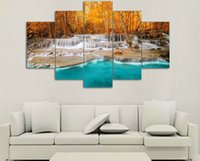 beauty picture frames - 5 Piece Wall Art Painting Canvas Painting Strong Waterfall Natural Beauty Painting Modern Picture Home Decor