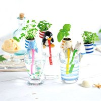 Wholesale Chuppon Self Watering from Animal Straw Plant Holder Mini Bonsai Animal Planters With The Cup Soil And Seeds Desktop Decoration