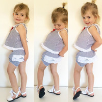 baby sailor outfit - 2016 Ins baby girl toddler Summer clothes piece sailor set outfits Lace stripe vest tops shirt lace bloomers shorts diaper covers Bowknot