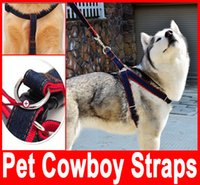 Wholesale Pet Cowboy Straps pet leash chest puppy dog leash chest back sets of large Collar Harness Chain Safety Belt Pets traction rope hot