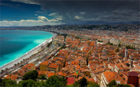 azur decor - Building Nice France Cote d Azur Ligurian Sea coast panorama buildings roofs sea x36 inch Silk Poster wall decor