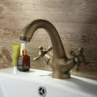 Wholesale antique copper wire drawing basin faucet manufacturers direct selling brass basin faucet dual hand mixers