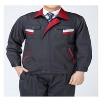 Wholesale Long Sleeve Work Uniform Clothes Suit Engineering Overalls Five Size Best Selling Delicate Craft Super Fabric Comfortable Dark Grey Stripe