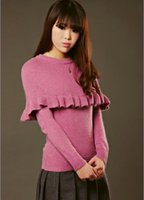 angora sweaters - Ruffles angora rabbit hair sweater shawl cape sweater female knit pullover