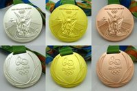 Wholesale Hot Rio Olympic Gold Silver Bronze Medals Ribbons Big Diametter of mm Full Set With Silk RIBBONS New DHL