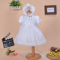 Wholesale 2016 three pieces set cotton christening gown beaded lace baby christening gowns dresses for baby girl baptism dresses