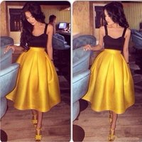 Wholesale 2016 Short Cocktail Dresses Two Pieces Tank Spaghetti Straps Black and Yellow Sexy Prom Party Dresses Tea Length A line Homecoming Gowns BM