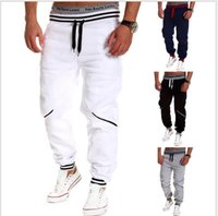 Wholesale Men s Fashion Sports Track Sweatpants Cool Jogging Field Elastic Drawstring Harem White Hip Hop Loose Casual