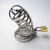 Wholesale Sex Padlock Chastity - Stainless Steel cockcage with teeth ring chastity device penis cock cage with snap ring and Padlock Sex toys for male men bondage 948 plus